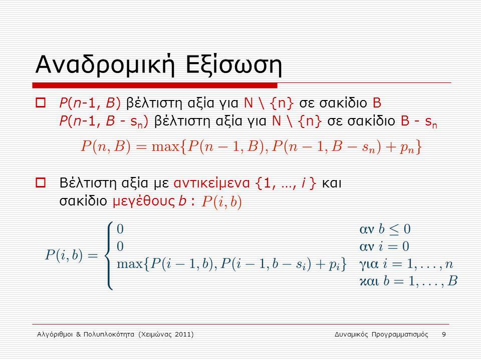 Αναδρομική Εξίσωση P(n-1, B) βέλτιστη αξία για Ν \ {n} σε σακίδιο Β P(n-1, B - sn) βέλτιστη αξία για Ν \ {n} σε σακίδιο Β - sn.