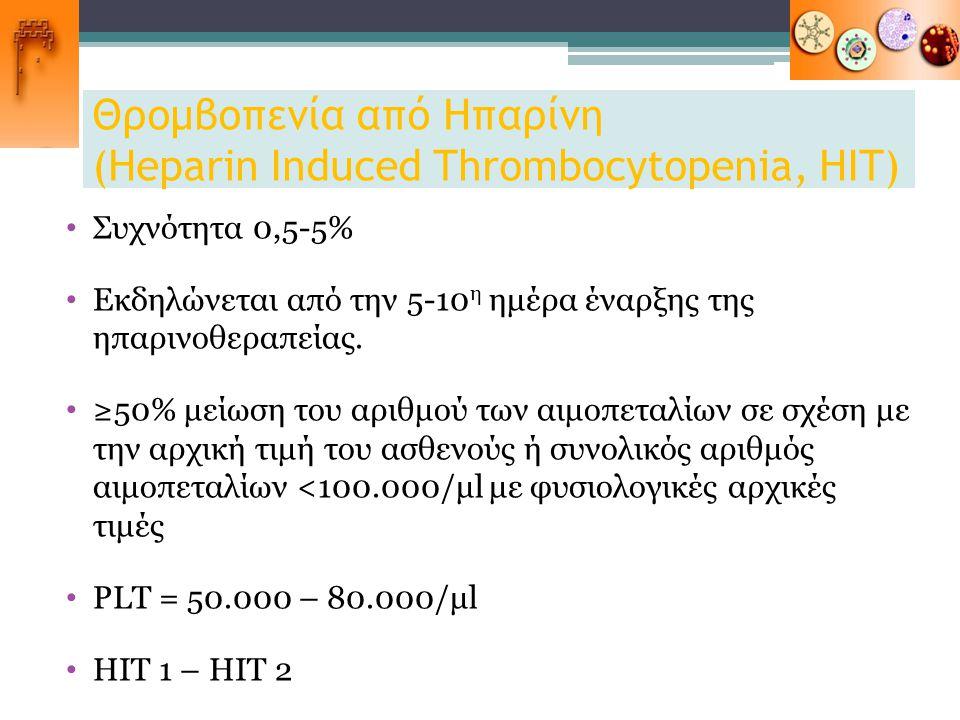 Θρομβοπενία από Ηπαρίνη (Heparin Induced Thrombocytopenia, HIT)