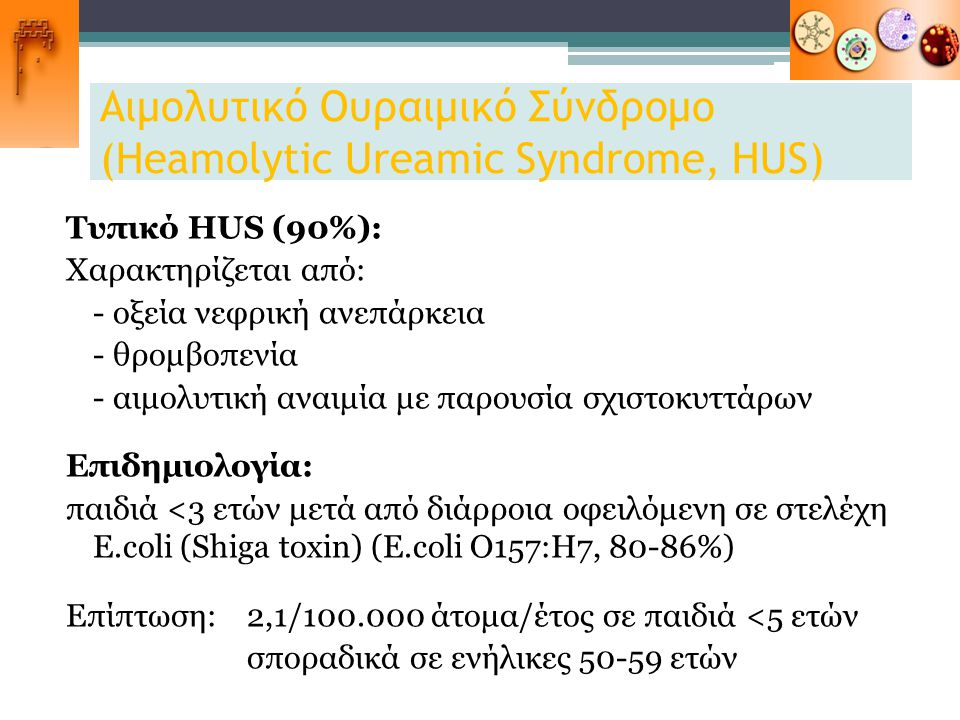 Αιμολυτικό Ουραιμικό Σύνδρομο (Heamolytic Ureamic Syndrome, HUS)