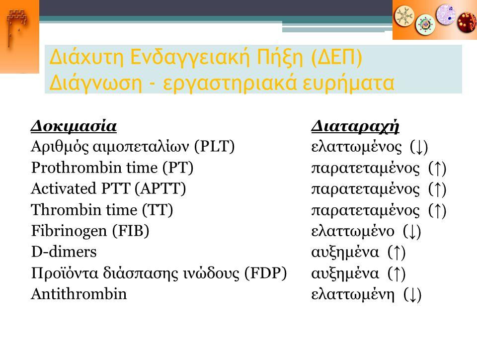 Διάχυτη Ενδαγγειακή Πήξη (ΔΕΠ) Διάγνωση - εργαστηριακά ευρήματα