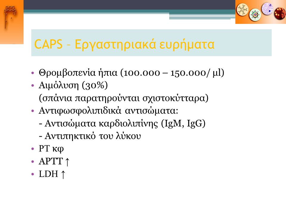 CAPS – Εργαστηριακά ευρήματα