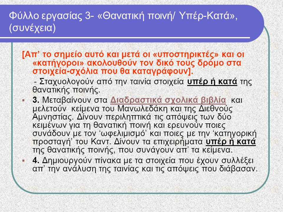 Φύλλο εργασίας 3- «Θανατική ποινή/ Υπέρ-Κατά», (συνέχεια)