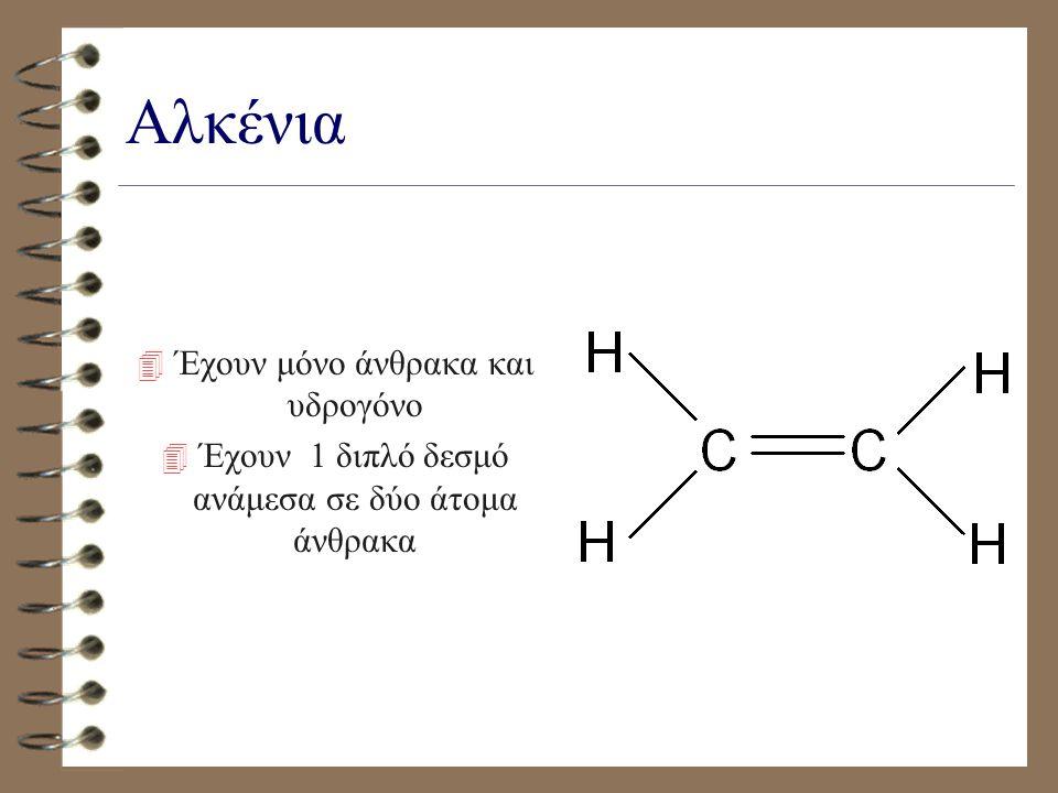 Αλκένια Έχουν μόνο άνθρακα και υδρογόνο