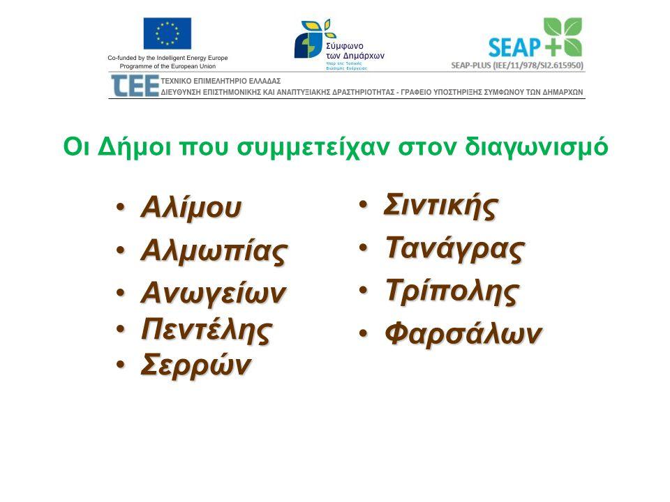 Οι Δήμοι που συμμετείχαν στον διαγωνισμό