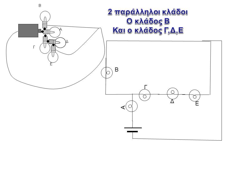 2 παράλληλοι κλάδοι Ο κλάδος Β Και ο κλάδος Γ,Δ,Ε
