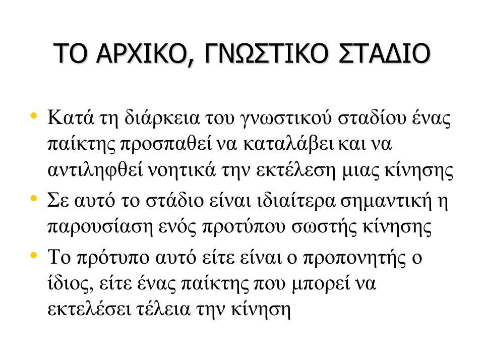 ΤΟ ΑΡΧΙΚΟ, ΓΝΩΣΤΙΚΟ ΣΤΑΔΙΟ