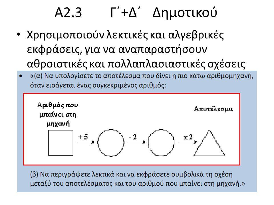 Α2.3 Γ΄+Δ΄ Δημοτικού Χρησιμοποιούν λεκτικές και αλγεβρικές εκφράσεις, για να αναπαραστήσουν αθροιστικές και πολλαπλασιαστικές σχέσεις.