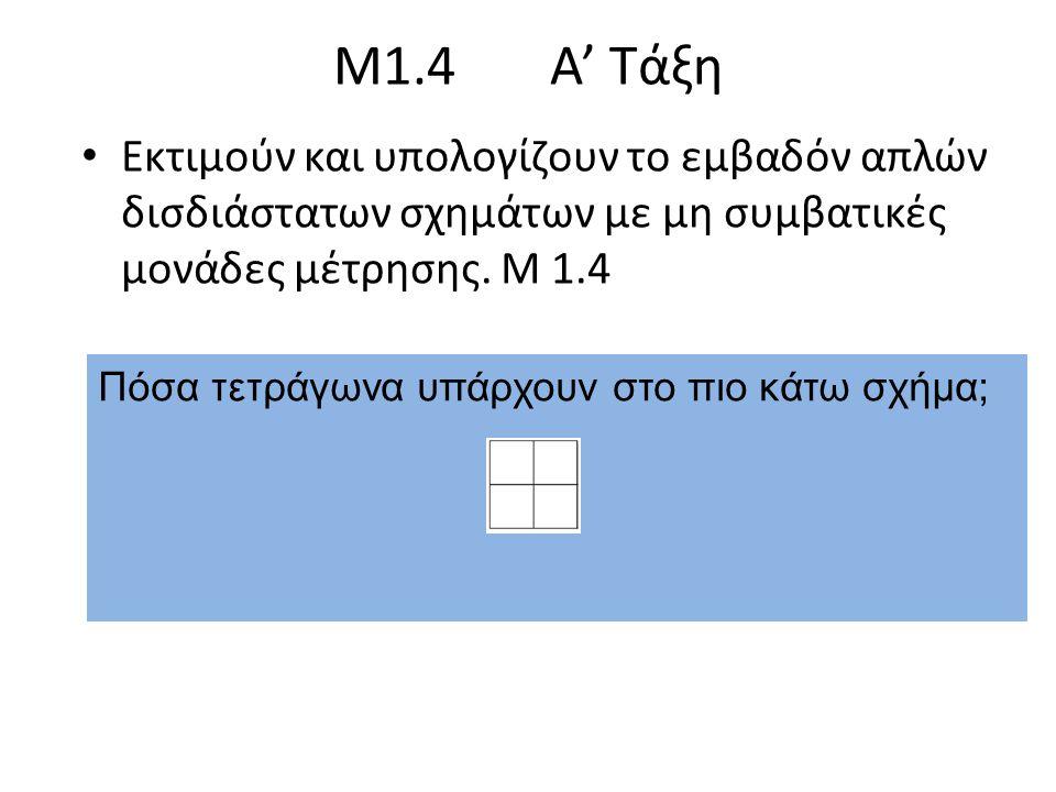 Μ1.4 Α' Τάξη Εκτιμούν και υπολογίζουν το εμβαδόν απλών δισδιάστατων σχημάτων με μη συμβατικές μονάδες μέτρησης. Μ 1.4.