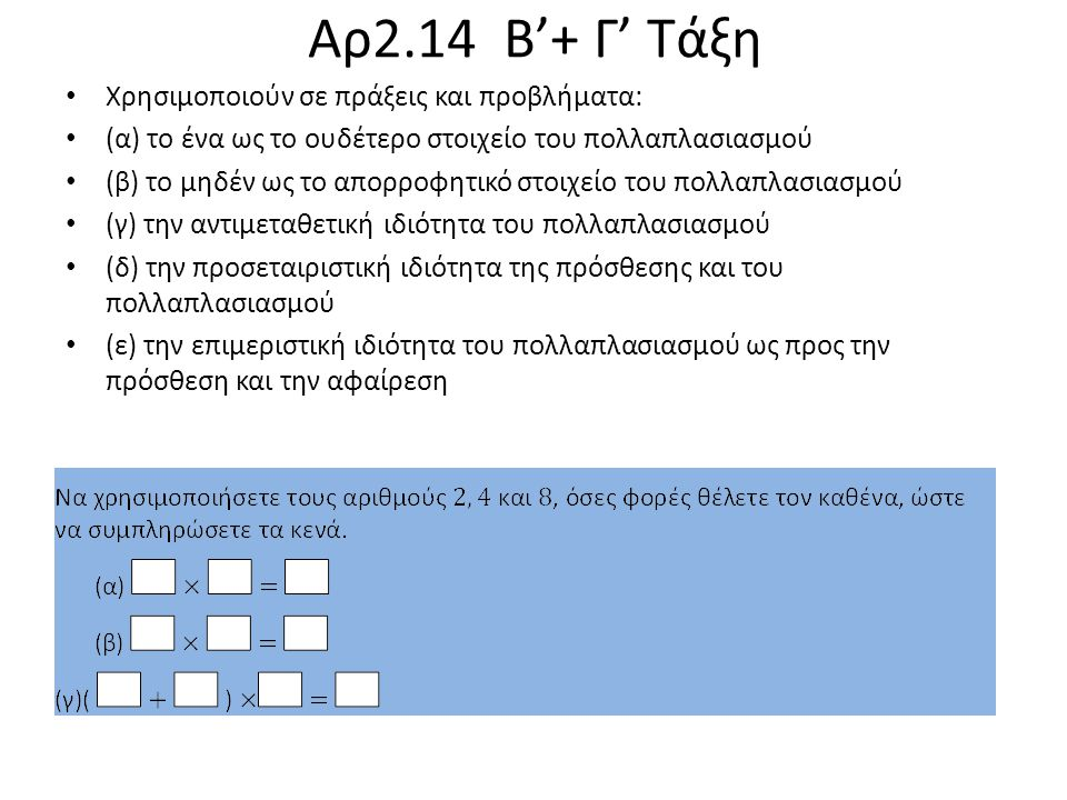 Αρ2.14 Β'+ Γ' Τάξη Χρησιμοποιούν σε πράξεις και προβλήματα: