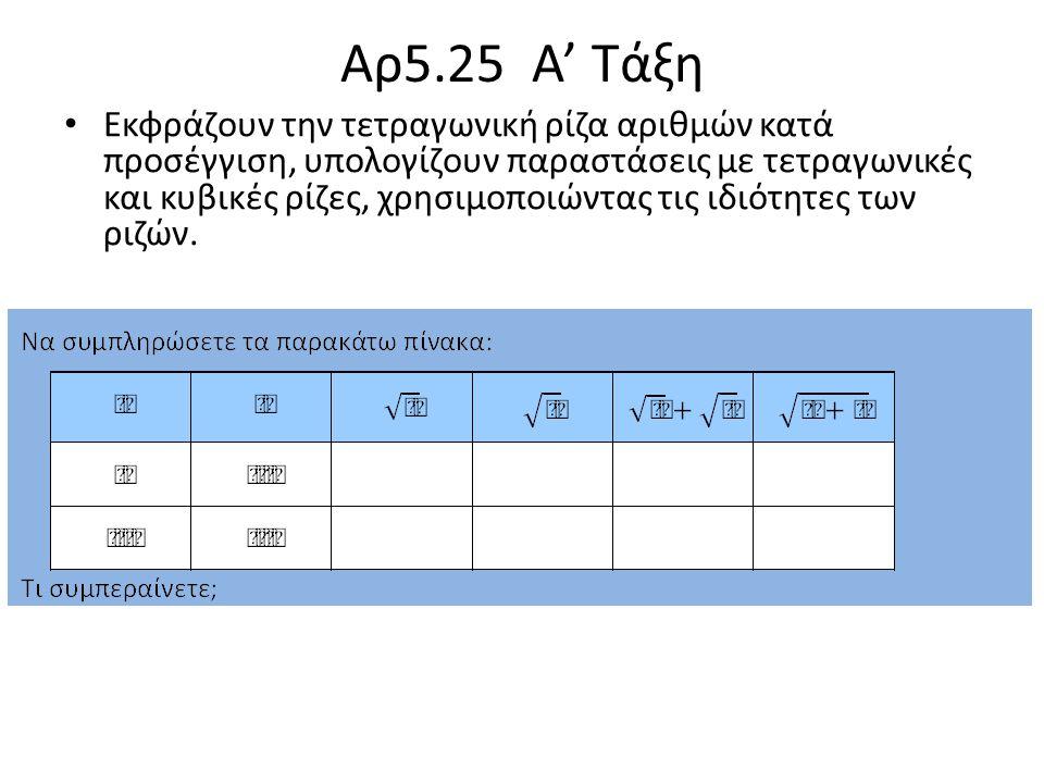 Αρ5.25 Α' Τάξη