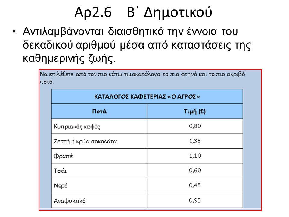 Αρ2.6 Β΄ Δημοτικού Αντιλαμβάνονται διαισθητικά την έννοια του δεκαδικού αριθμού μέσα από καταστάσεις της καθημερινής ζωής.