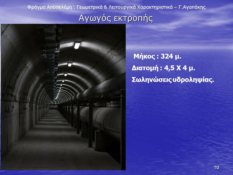 Αγωγός εκτροπής Διατομή : 4,5 Χ 4 μ. Σωληνώσεις υδροληψίας.