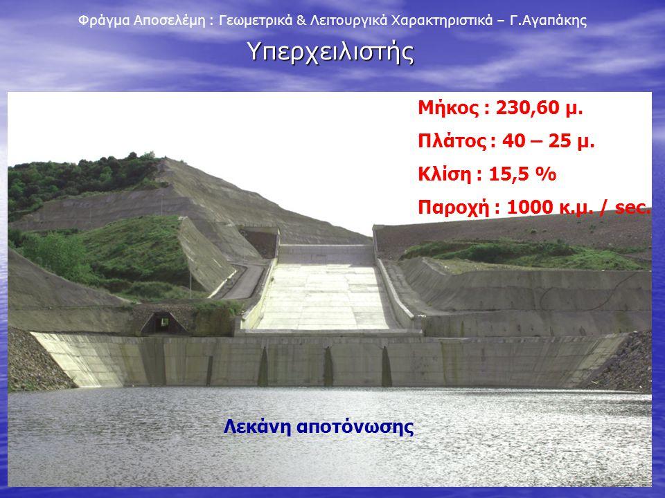 Υπερχειλιστής Μήκος : 230,60 μ. Πλάτος : 40 – 25 μ. Κλίση : 15,5 %