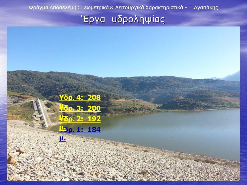 'Εργα υδροληψίας Υδρ. 4: 208 μ. Υδρ. 3: 200 μ. Υδρ. 2: 192 μ.