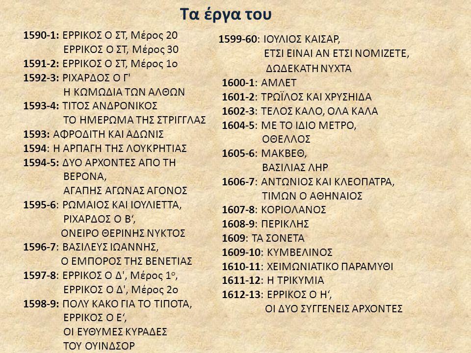 Τα έργα του 1590-1: ΕΡΡΙΚΟΣ Ο ΣΤ, Μέρος 20 1599-60: ΙΟΥΛΙΟΣ ΚΑΙΣΑΡ,