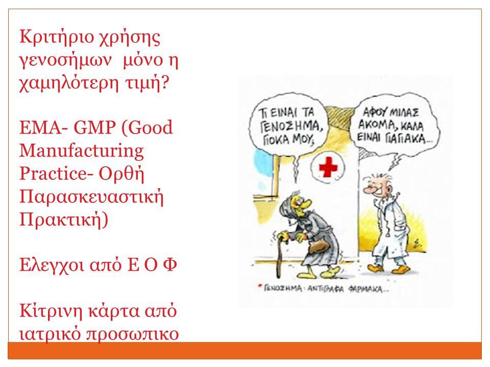 Κριτήριο χρήσης γενοσήμων μόνο η χαμηλότερη τιμή ΕΜΑ- GMP (Good Manufacturing Practice- Oρθή Παρασκευαστική Πρακτική)