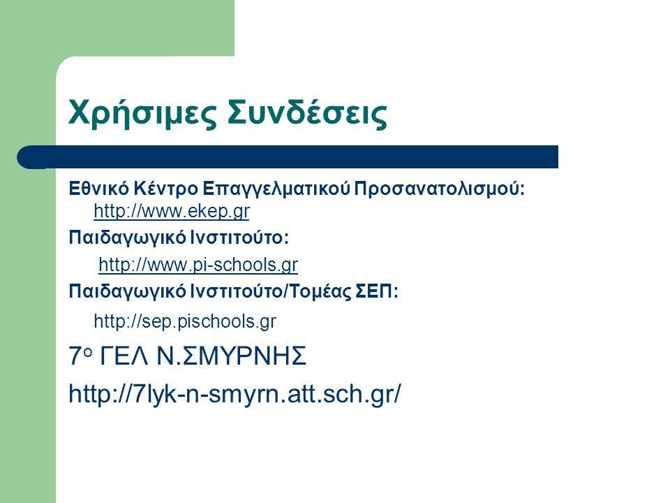 Χρήσιμες Συνδέσεις 7ο ΓΕΛ Ν.ΣΜΥΡΝΗΣ http://7lyk-n-smyrn.att.sch.gr/
