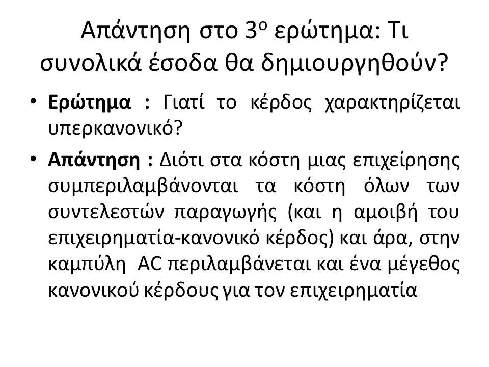 Απάντηση στο 3ο ερώτημα: Τι συνολικά έσοδα θα δημιουργηθούν