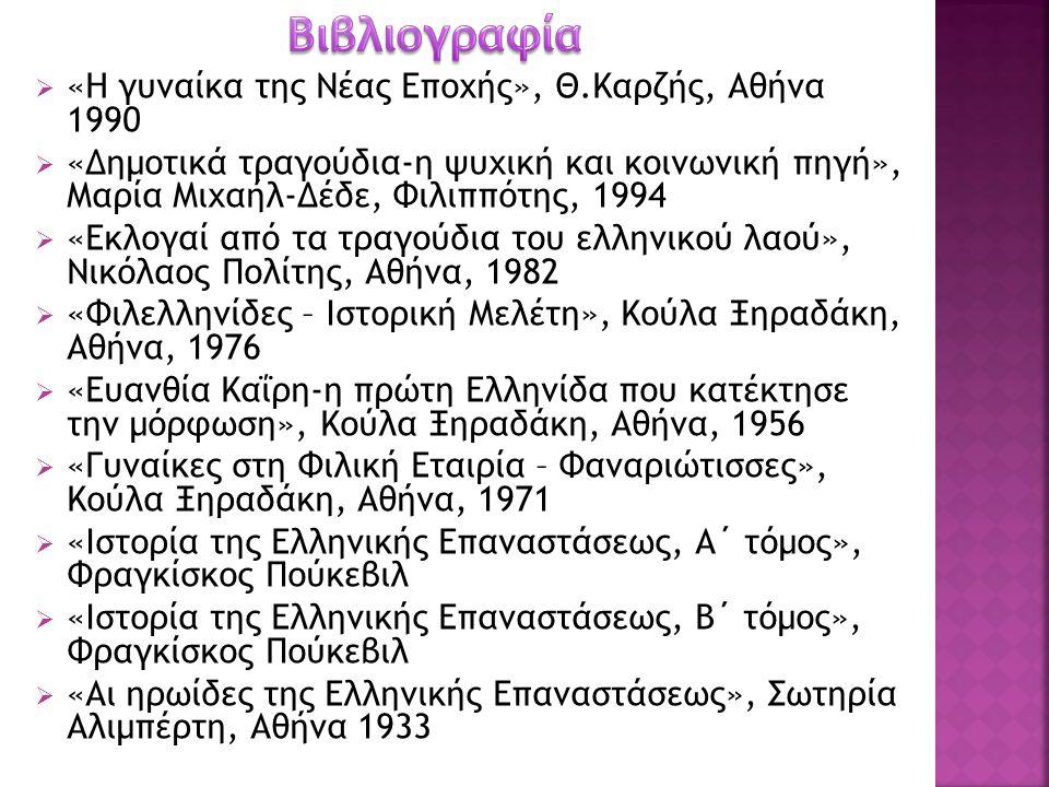 Βιβλιογραφία «Η γυναίκα της Νέας Εποχής», Θ.Καρζής, Αθήνα 1990