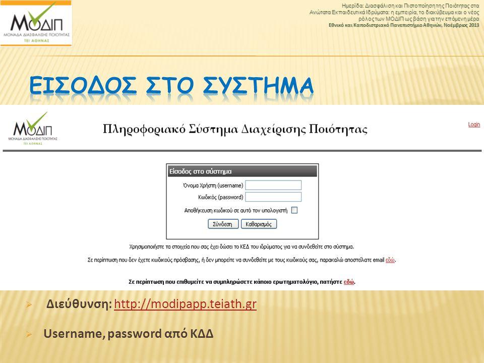 ΕΙσοδος στο ΣΥστημα Διεύθυνση: http://modipapp.teiath.gr
