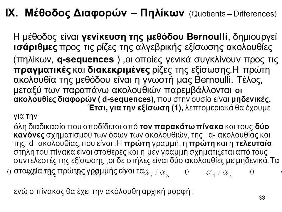 IX. Μέθοδος Διαφορών – Πηλίκων (Quotients – Differences)