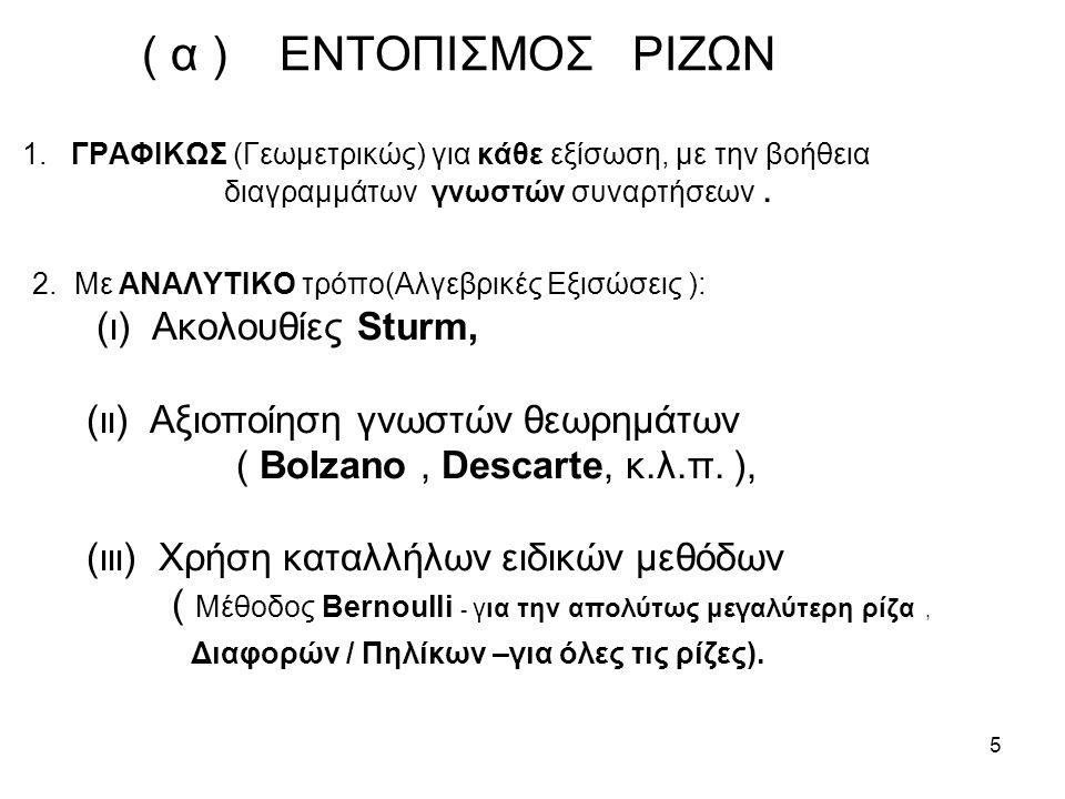 ( α ) ΕΝΤΟΠΙΣΜΟΣ ΡΙΖΩΝ 1. ΓΡΑΦΙΚΩΣ (Γεωμετρικώς) για κάθε εξίσωση, με την βοήθεια διαγραμμάτων γνωστών συναρτήσεων .
