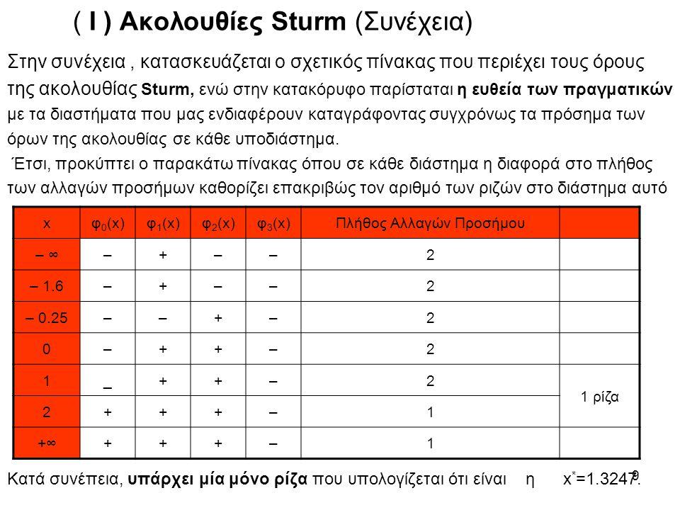 ( Ι ) Ακολουθίες Sturm (Συνέχεια)