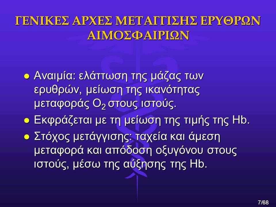 ΓΕΝΙΚΕΣ ΑΡΧΕΣ ΜΕΤΑΓΓΙΣΗΣ ΕΡΥΘΡΩΝ ΑΙΜΟΣΦΑΙΡΙΩΝ