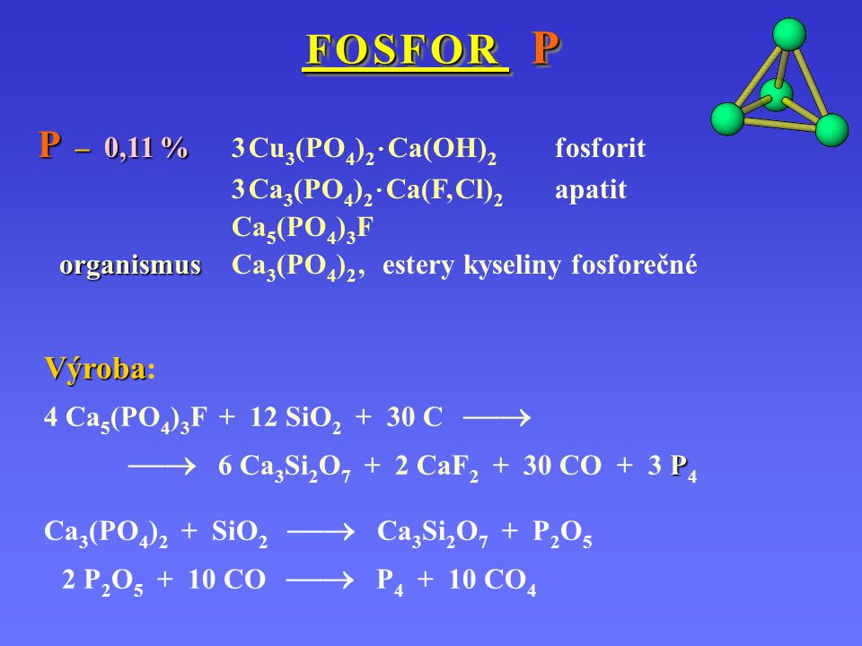 P – 0,11 % 3 Cu3(PO4)2 · Ca(OH)2 fosforit