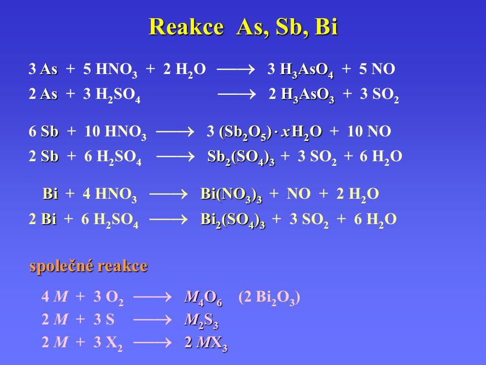 Reakce As, Sb, Bi společné reakce