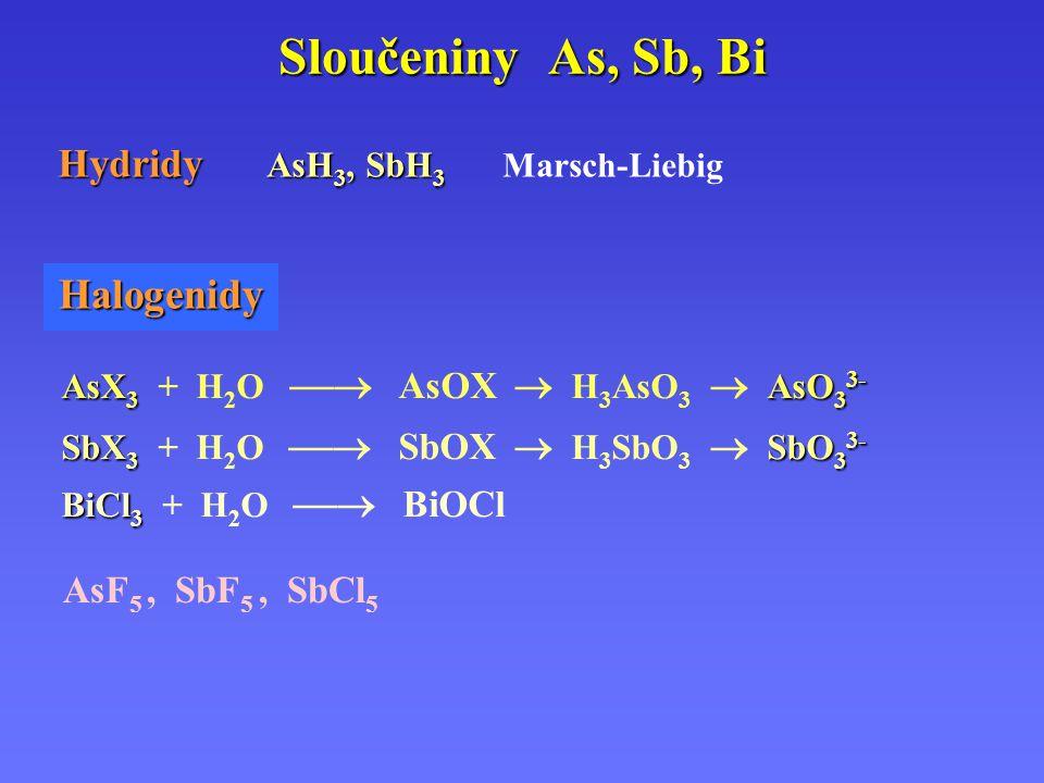 Sloučeniny As, Sb, Bi Halogenidy Hydridy AsH3, SbH3 Marsch-Liebig