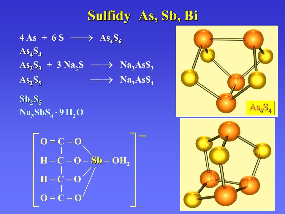 Sulfidy As, Sb, Bi 4 As + 6 S  As4S6 As4S4 As2S3 + 3 Na2S  Na3AsS3