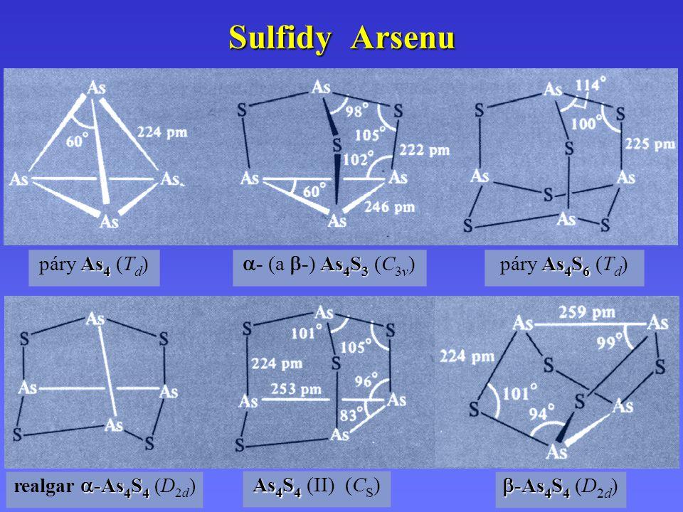 Sulfidy Arsenu páry As4 (Td) - (a -) As4S3 (C3v) páry As4S6 (Td)