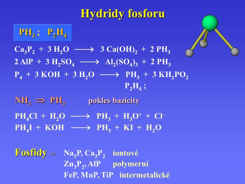 Hydridy fosforu Fosfidy – Na3P, Ca3P2 iontové PH3 ; P2H4