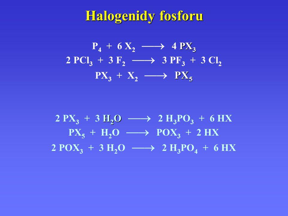 Halogenidy fosforu P4 + 6 X2  4 PX3 2 PCl3 + 3 F2  3 PF3 + 3 Cl2