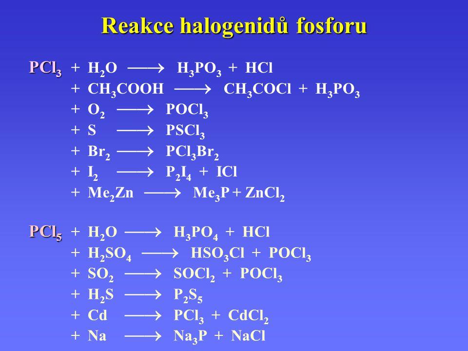 Reakce halogenidů fosforu