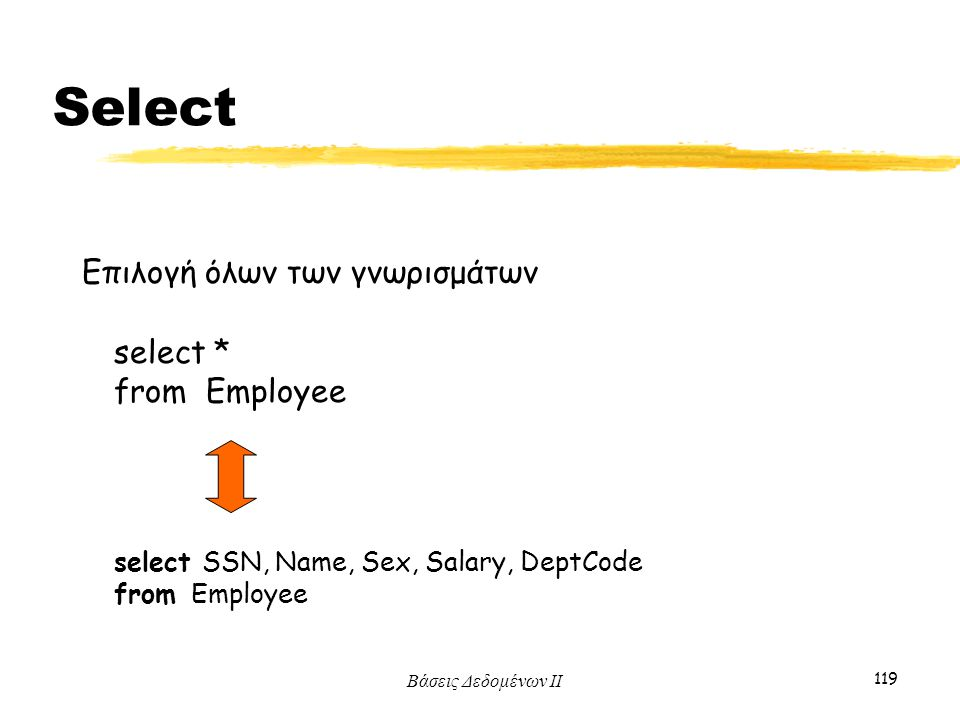 Select Επιλογή όλων των γνωρισμάτων select * from Employee