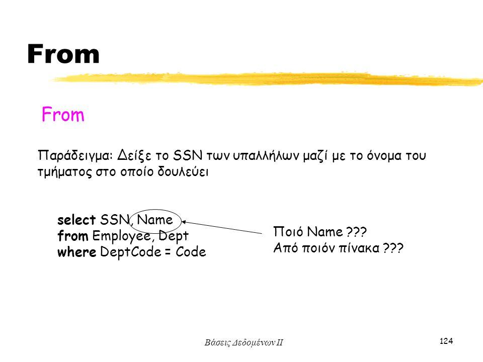From From. Παράδειγμα: Δείξε το SSN των υπαλλήλων μαζί με το όνομα του τμήματος στο οποίο δουλεύει.