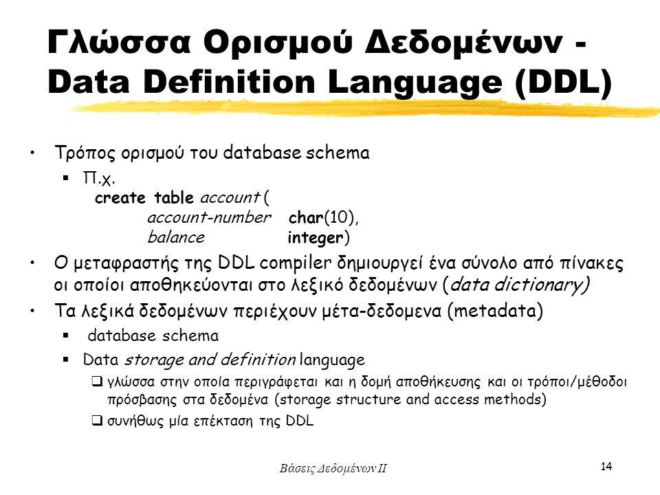 Γλώσσα Ορισμού Δεδομένων - Data Definition Language (DDL)