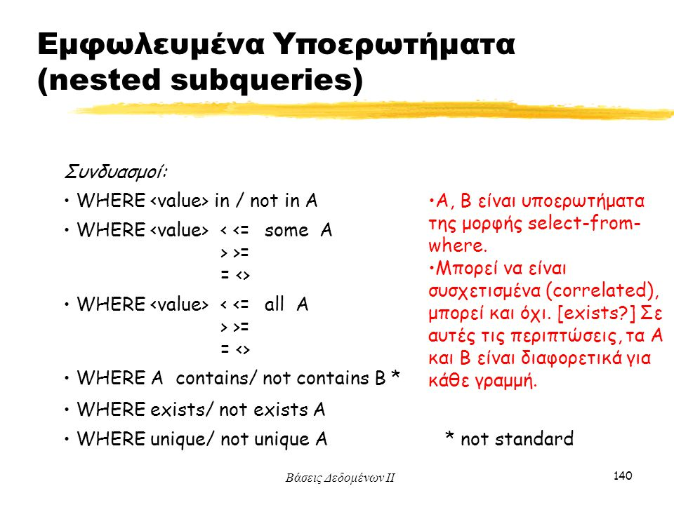 Εμφωλευμένα Υποερωτήματα (nested subqueries)