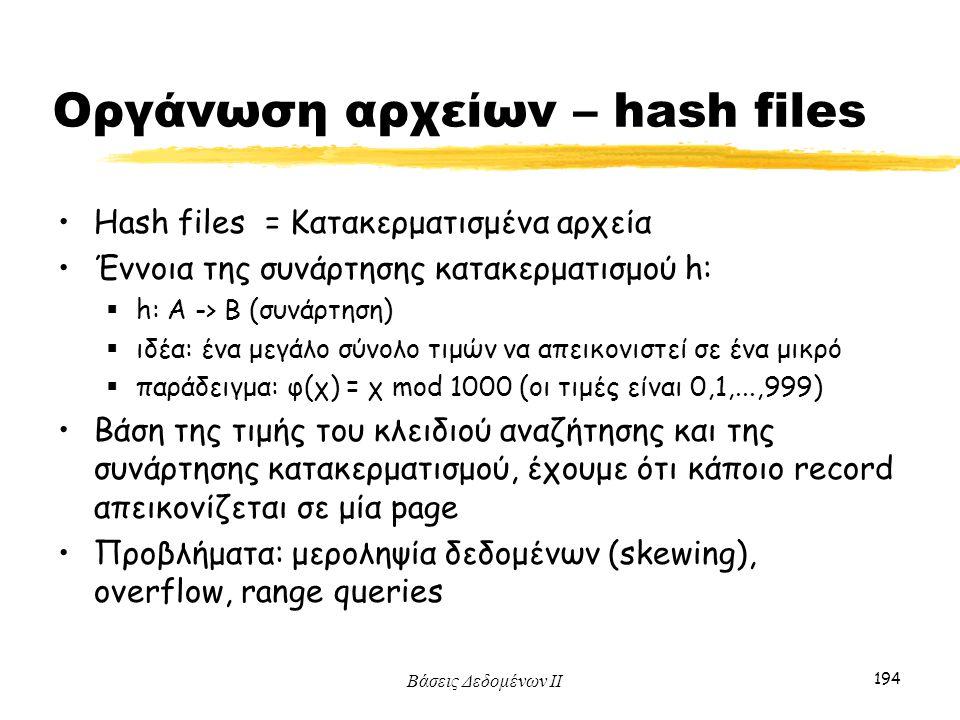 Οργάνωση αρχείων – hash files