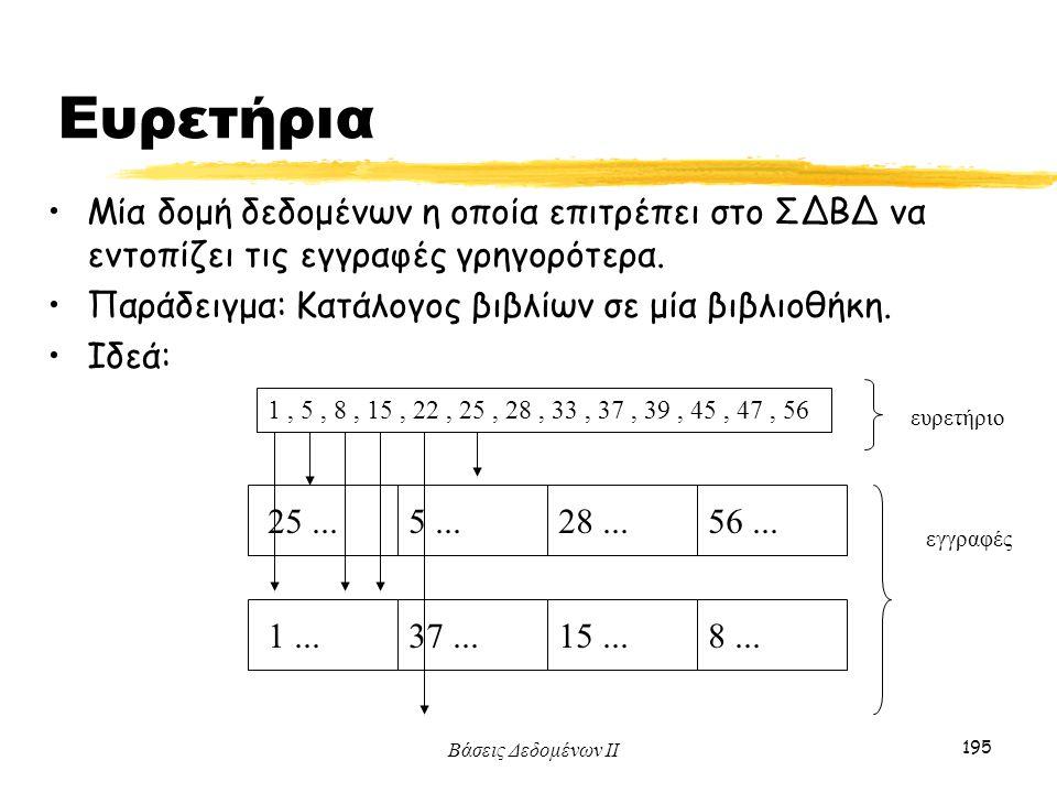 Ευρετήρια Μία δομή δεδομένων η οποία επιτρέπει στο ΣΔΒΔ να εντοπίζει τις εγγραφές γρηγορότερα. Παράδειγμα: Κατάλογος βιβλίων σε μία βιβλιοθήκη.