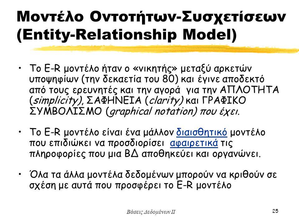 Μοντέλο Οντοτήτων-Συσχετίσεων (Entity-Relationship Model)