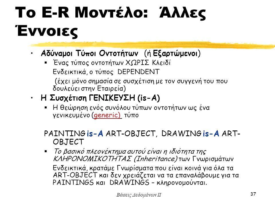 Το E-R Μοντέλο: Άλλες Έννοιες