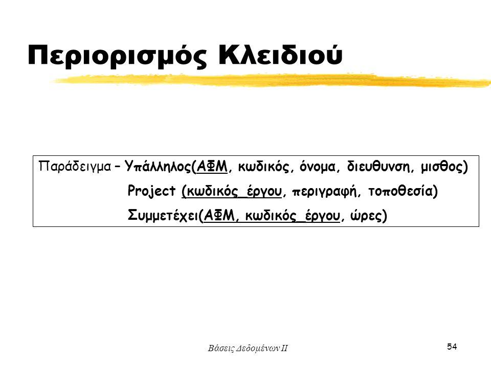 Περιορισμός Κλειδιού Παράδειγμα – Υπάλληλος(ΑΦΜ, κωδικός, όνομα, διευθυνση, μισθος) Project (κωδικός_έργου, περιγραφή, τοποθεσία)