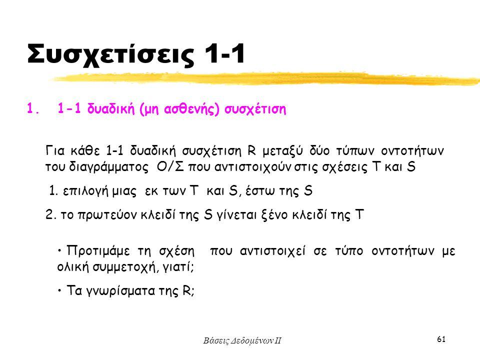 Συσχετίσεις 1-1 1. 1-1 δυαδική (μη ασθενής) συσχέτιση