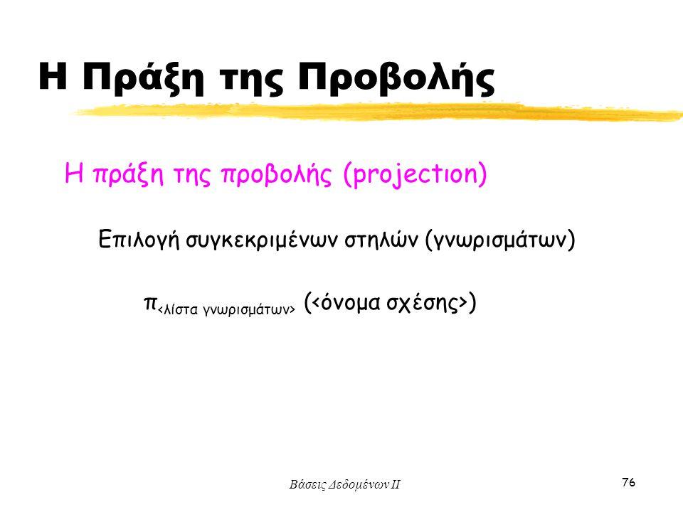 Η Πράξη της Προβολής Η πράξη της προβολής (projectιοn)