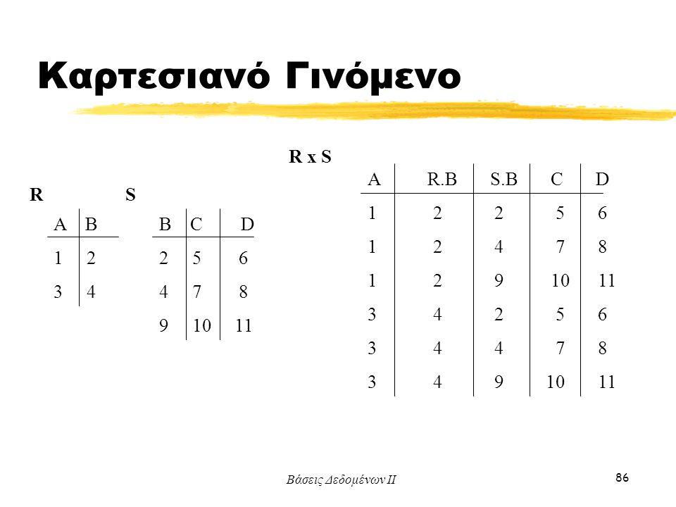 Καρτεσιανό Γινόμενο R x S A R.B S.B C D 1 2 2 5 6 1 2 4 7 8