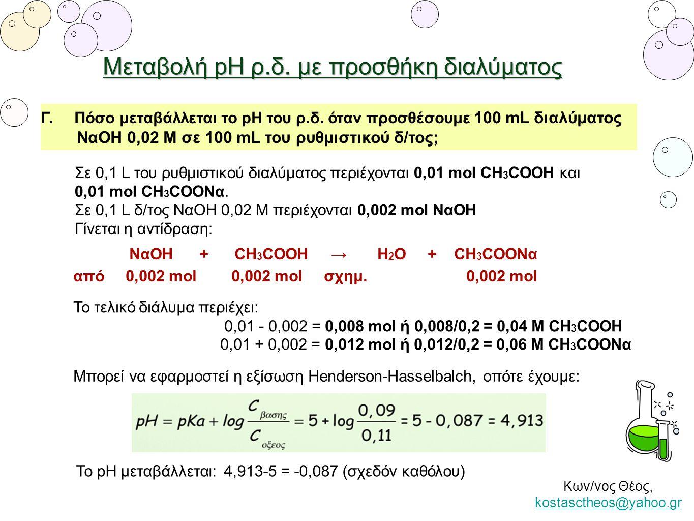 Μεταβολή pH ρ.δ. με προσθήκη διαλύματος