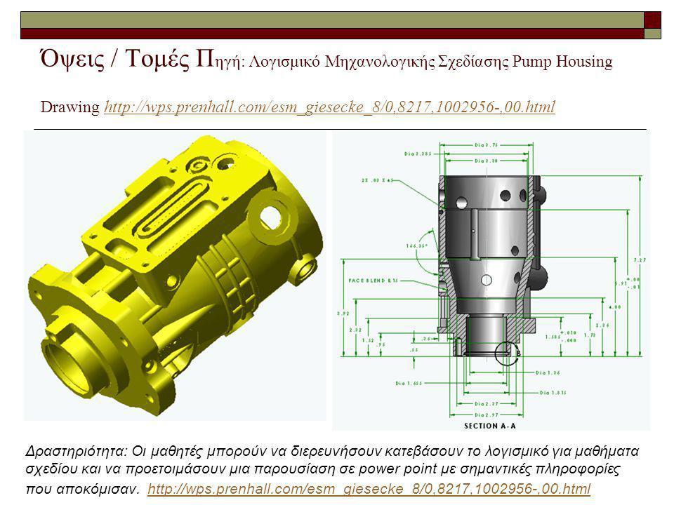 Όψεις / Τομές Πηγή: Λογισμικό Μηχανολογικής Σχεδίασης Pump Housing Drawing http://wps.prenhall.com/esm_giesecke_8/0,8217,1002956-,00.html